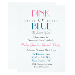 Elegant Pink or Blue Gender Reveal Invitation
