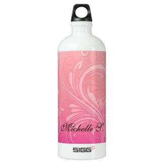 Elegant Pink Orange Embossed Floral Aluminum Water Bottle