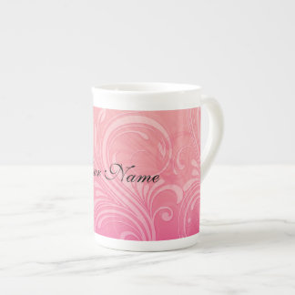 Elegant Pink Orange Floral Tea Cup