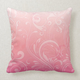 Elegant Pink Orange Floral Throw Pillows