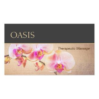 Elegant Pink Orchid Floral Massage Therapist Business Card