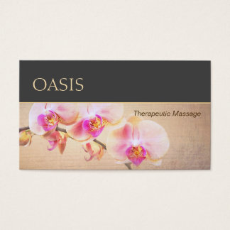 Elegant Pink Orchid Floral Massage Therapist Business Card