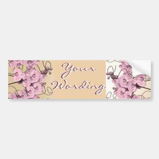 Elegant pink orchids cutomizable stickers car bumper sticker