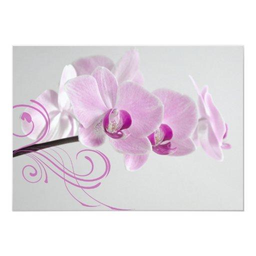 Elegant Pink Orchids Wedding Card