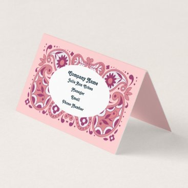 Professional Business Elegant Pink Paisley Design Tear Drops Daisies Business Card