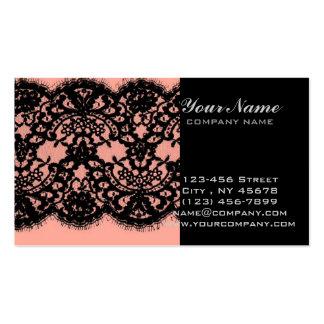 elegant pink paris vintage black lace pattern business card