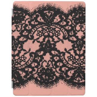 elegant pink paris vintage black lace pattern iPad cover