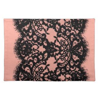 elegant pink paris vintage black lace pattern place mats