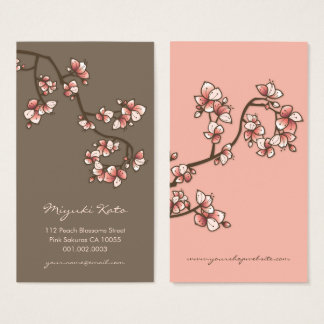 Elegant Pink Peach Blossoms Sakura Business Card