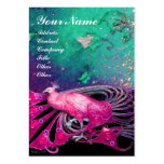 ELEGANT PINK PEACOCK IN GREEN BLUE FLORAL SPARKLES LARGE BUSINESS CARDS (Pack OF 100)