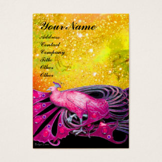 ELEGANT PINK PEACOCK JEWEL IN GOLD SPARKLES BUSINESS CARD