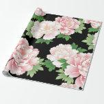 Elegant Pink Peonies Vintage Floral Pattern Gift Wrap Paper
