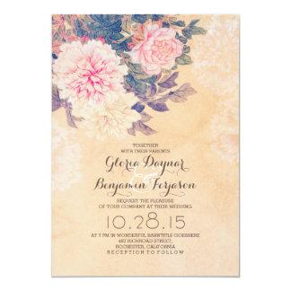 Elegant pink peonies wedding invitation