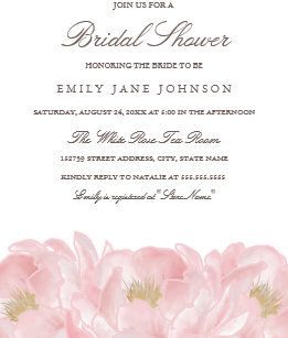 Pink bridal shower invitations announcements zazzle elegant pink peony bridal shower invitation filmwisefo Images