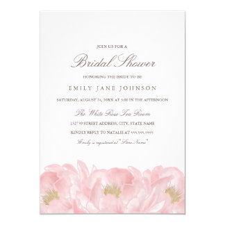 Elegant Pink Peony Bridal Shower Invitation