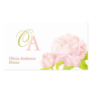Elegant Pink Peony Florist Monogram Business Cards