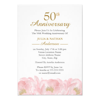 Elegant Pink Peony Wedding Anniversary Invitation