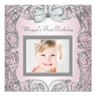 "Elegant Pink Photo First Birthday Party Invitation 5.25"" Square Invitation Card"