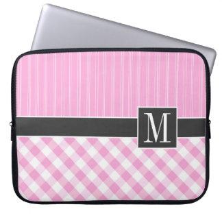 Elegant Pink Plaid; Checkered Computer Sleeve