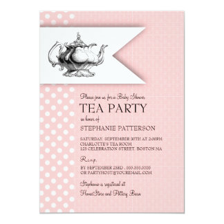 Elegant Pink Polkadot Baby Shower Tea Party Card