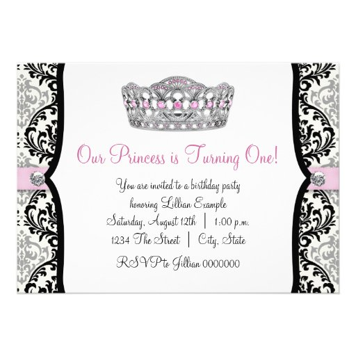 Elegant Pink Princess First Birthday Party Personalized Invites