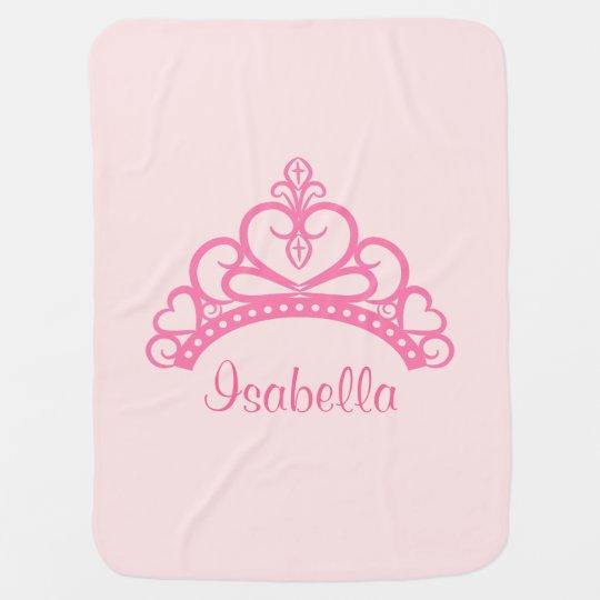 Elegant Pink Princess Tiara, Crown for Baby Girls Receiving Blanket