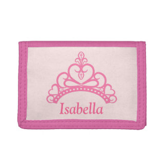 Elegant Pink Princess Tiara, Crown for Girls Tri-fold Wallets