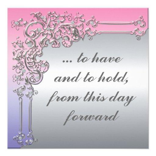 Elegant Pink Purple And Silver Wedding Invitation 525 Square Invitation Card