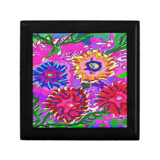 Elegant Pink Purple Flower Garden Jewelry Box