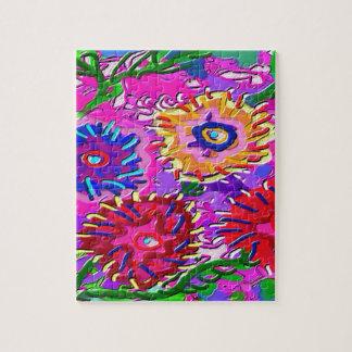 Elegant Pink Purple Flower Garden Jigsaw Puzzle