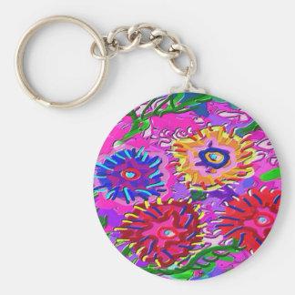 Elegant Pink Purple Flower Garden Keychain