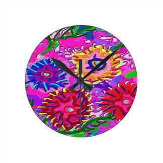 Elegant Pink Purple Flower Garden Round Clock