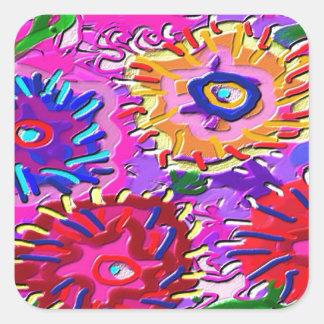 Elegant Pink Purple Flower Garden Square Sticker