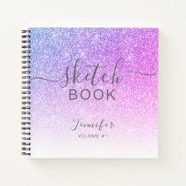 Elegant Pink Purple Glitter Sketchbook Name Script Notebook