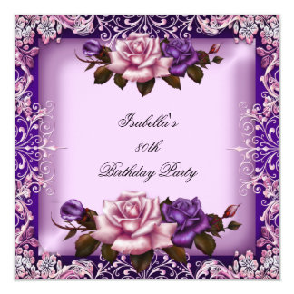 Elegant Pink Purple Lilac Rose 80th Birthday Party Card