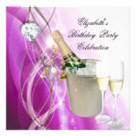 Elegant Pink Purple Silver Glitter Birthday Party Announcement