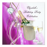 Elegant Pink Purple Silver Glitter Birthday Party Announcement