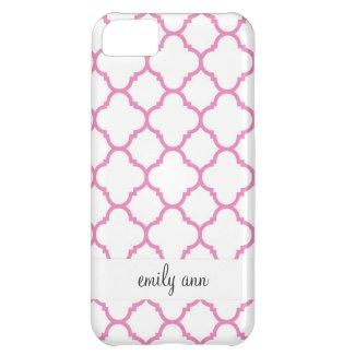 Elegant Pink Quatrefoil on White Pattern iPhone 5C Covers