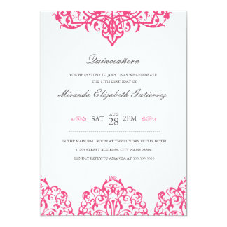Elegant Pink Quinceañera Invitation