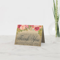 Elegant Pink Red Roses Music Piano Teacher Thank Thank You Card