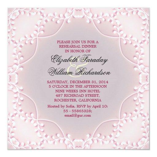 elegant pink rehearsal dinner invitations