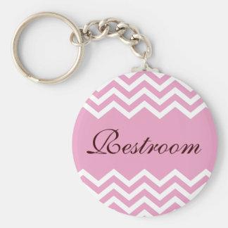 Elegant pink restroom keychain with zigzag pattern