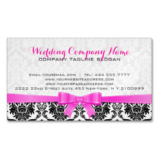 Elegant Pink Ribbon Black & White Damasks 2 Magnetic Business Card