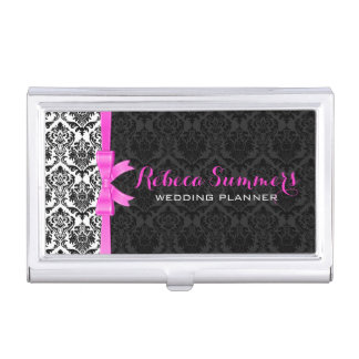 Elegant Pink Ribbon Black & White Damasks 2a