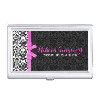 Elegant Pink Ribbon Black & White Damasks 2a Business Card Holders