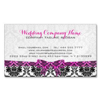 Elegant Pink Ribbon Black & White Damasks Magnetic Business Card