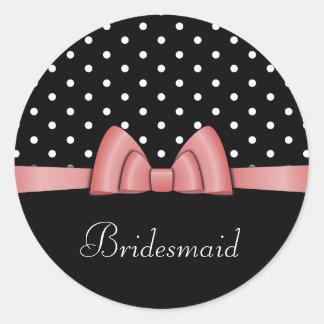 Elegant Pink Ribbon Bridesmaid Sticker