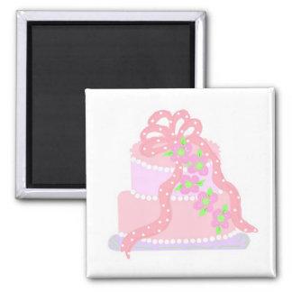 Elegant Pink Ribbon Cake Refrigerator Magnets