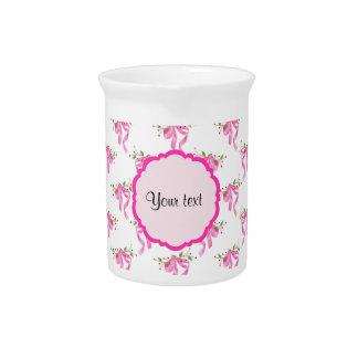 Elegant Pink Romantic Bows Pitcher