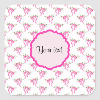 Elegant Pink Romantic Bows Square Sticker